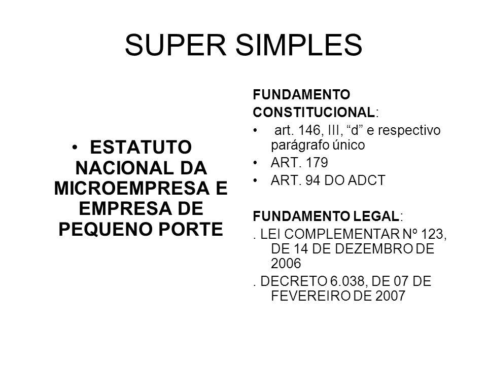 SUPER SIMPLES ESTATUTO NACIONAL DA MICROEMPRESA E EMPRESA DE PEQUENO PORTE FUNDAMENTO CONSTITUCIONAL: art. 146, III, d e respectivo parágrafo único AR
