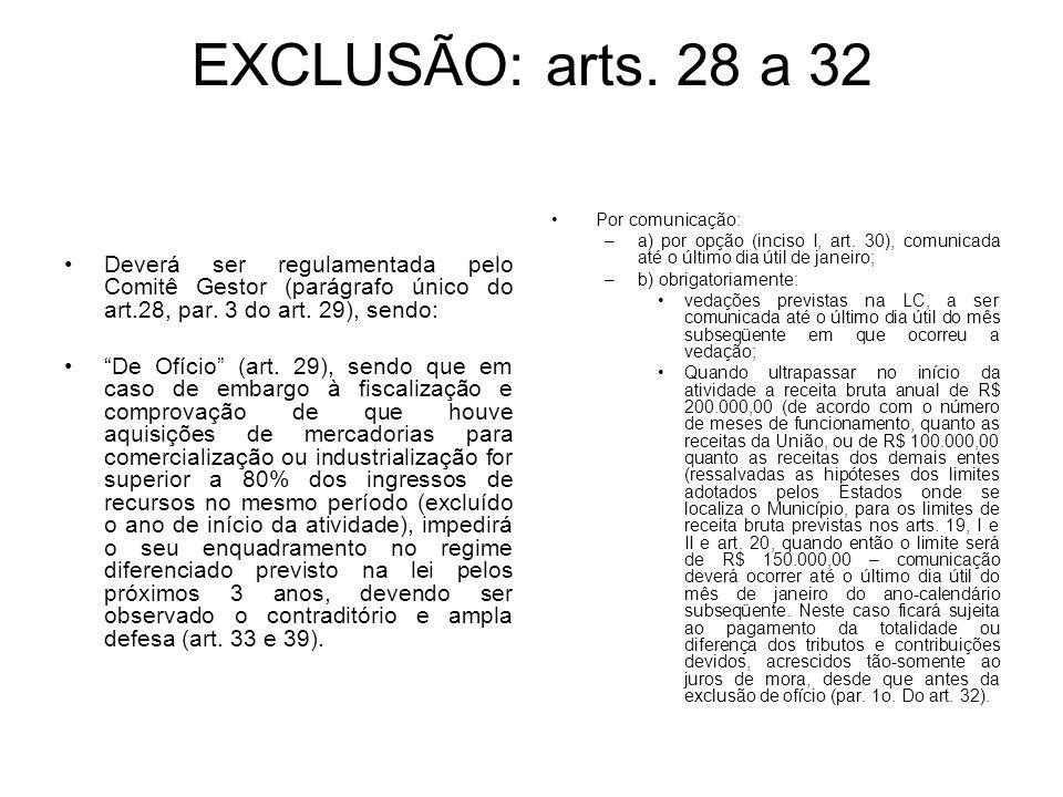 EXCLUSÃO: arts. 28 a 32 Deverá ser regulamentada pelo Comitê Gestor (parágrafo único do art.28, par. 3 do art. 29), sendo: De Ofício (art. 29), sendo