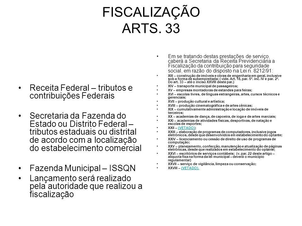 FISCALIZAÇÃO ARTS. 33 Receita Federal – tributos e contribuições Federais Secretaria da Fazenda do Estado ou Distrito Federal – tributos estaduais ou
