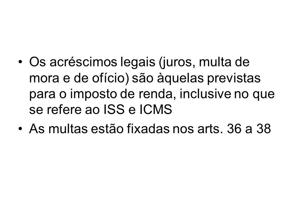 Os acréscimos legais (juros, multa de mora e de ofício) são àquelas previstas para o imposto de renda, inclusive no que se refere ao ISS e ICMS As mul