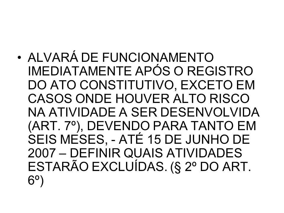 O REGISTRO, ALTERAÇÃO E EXTINÇÃO DEVERÁ OCORRER INDEPENDENTE DA REGULARIZAÇÃO TRIBUTÁRIA (ART.