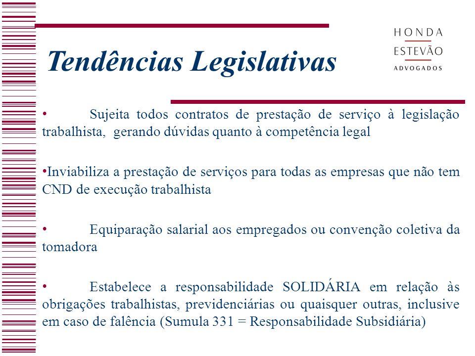Sujeita todos contratos de prestação de serviço à legislação trabalhista, gerando dúvidas quanto à competência legal Inviabiliza a prestação de serviç