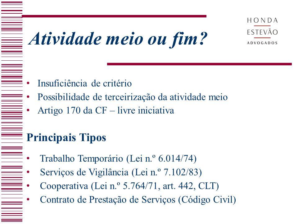 Insuficiência de critério Possibilidade de terceirização da atividade meio Artigo 170 da CF – livre iniciativa Atividade meio ou fim? Principais Tipos