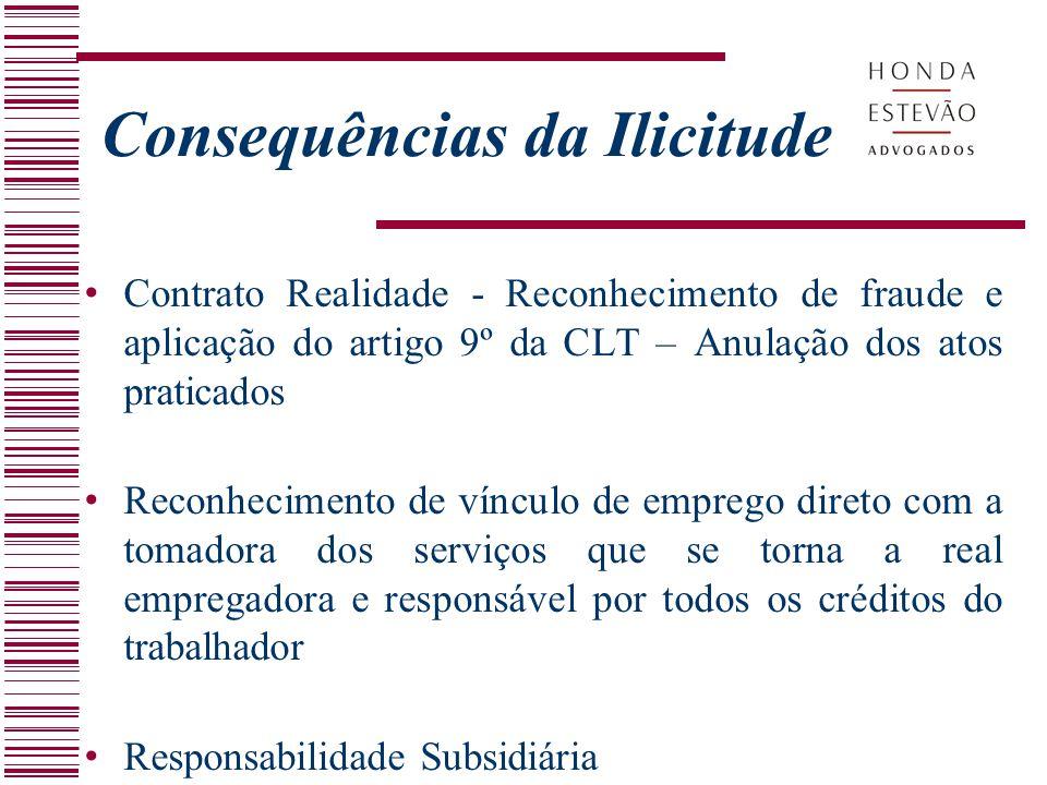 Contrato Realidade - Reconhecimento de fraude e aplicação do artigo 9º da CLT – Anulação dos atos praticados Reconhecimento de vínculo de emprego dire