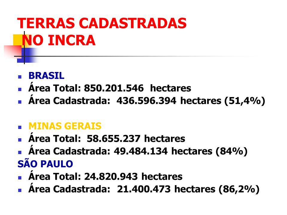 TERRAS CADASTRADAS NO INCRA BRASIL Área Total: 850.201.546 hectares Área Cadastrada: 436.596.394 hectares (51,4%) MINAS GERAIS Área Total: 58.655.237