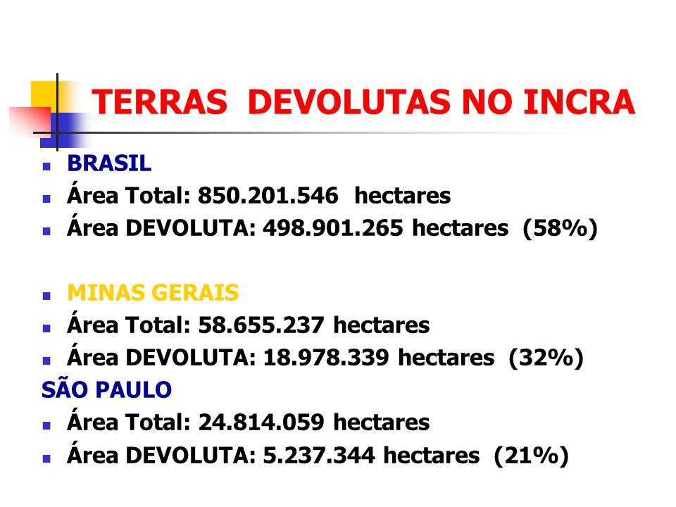 TERRAS DEVOLUTAS NO INCRA BRASIL Área Total: 850.201.546 hectares Área DEVOLUTA: 498.901.265 hectares (58%) MINAS GERAIS Área Total: 58.655.237 hectar