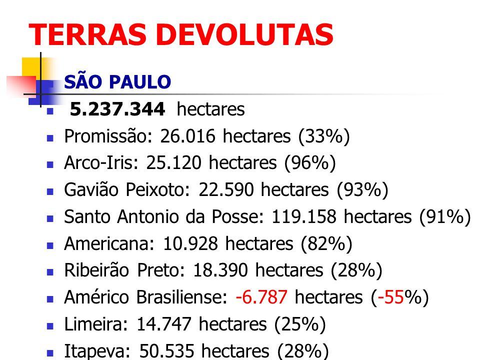 TERRAS DEVOLUTAS SÃO PAULO 5.237.344 hectares Promissão: 26.016 hectares (33%) Arco-Iris: 25.120 hectares (96%) Gavião Peixoto: 22.590 hectares (93%)