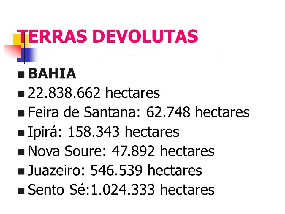 TERRAS DEVOLUTAS BAHIA 22.838.662 hectares Feira de Santana: 62.748 hectares Ipirá: 158.343 hectares Nova Soure: 47.892 hectares Juazeiro: 546.539 hec