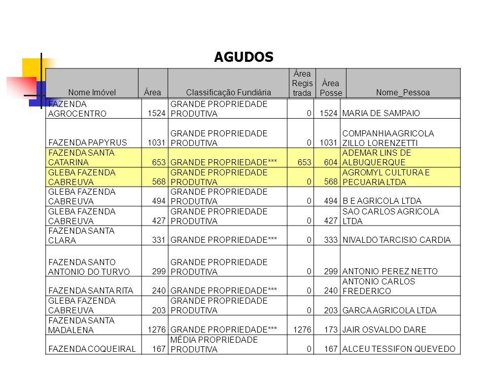 FAZENDA AGROCENTRO1524 GRANDE PROPRIEDADE PRODUTIVA01524MARIA DE SAMPAIO FAZENDA PAPYRUS1031 GRANDE PROPRIEDADE PRODUTIVA01031 COMPANHIA AGRICOLA ZILL