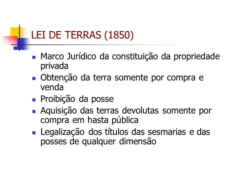 LEI DE TERRAS (1850) Marco Jurídico da constituição da propriedade privada Obtenção da terra somente por compra e venda Proibição da posse Aquisição d