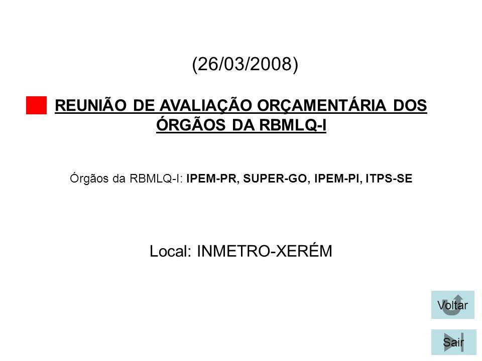 (26/03/2008) REUNIÃO DE AVALIAÇÃO ORÇAMENTÁRIA DOS ÓRGÃOS DA RBMLQ-I Voltar Local: INMETRO-XERÉM Sair Órgãos da RBMLQ-I: IPEM-PR, SUPER-GO, IPEM-PI, I