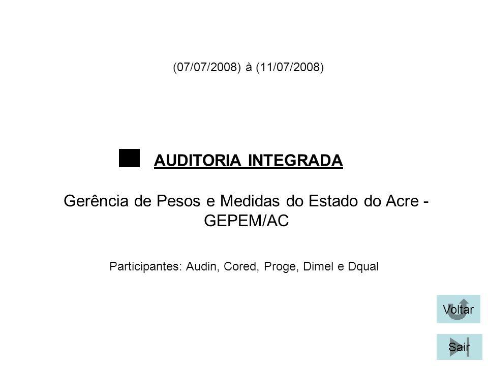 (07/07/2008) à (11/07/2008) AUDITORIA INTEGRADA Voltar Gerência de Pesos e Medidas do Estado do Acre - GEPEM/AC Sair Participantes: Audin, Cored, Prog