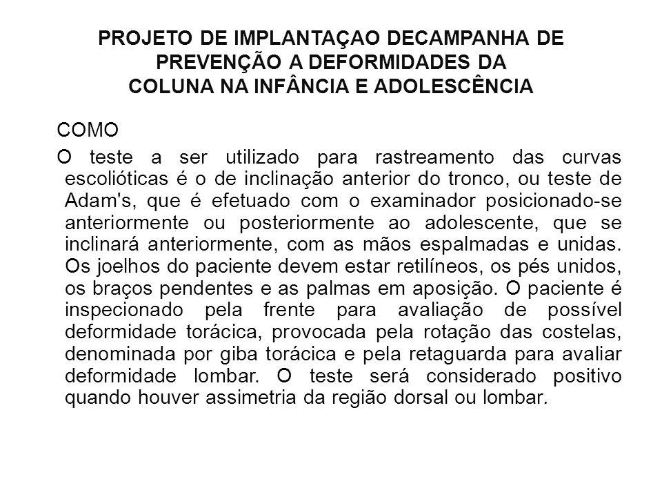 PROJETO DE IMPLANTAÇAO DECAMPANHA DE PREVENÇÃO A DEFORMIDADES DA COLUNA NA INFÂNCIA E ADOLESCÊNCIA COMO O teste a ser utilizado para rastreamento das