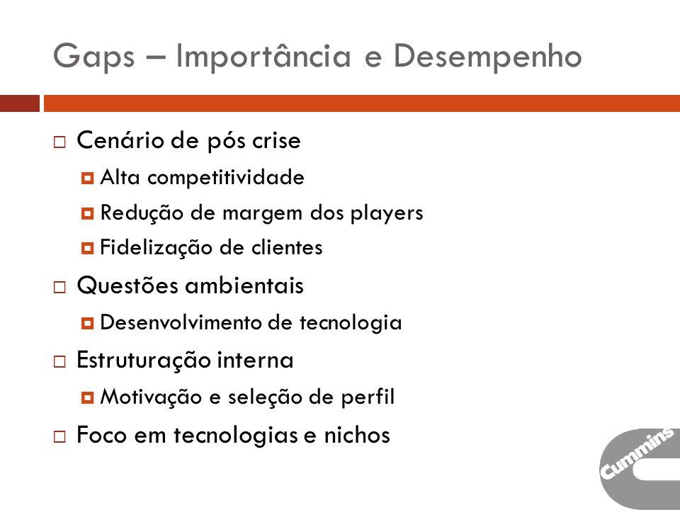 Gaps – Importância e Desempenho Cenário de pós crise Alta competitividade Redução de margem dos players Fidelização de clientes Questões ambientais Desenvolvimento de tecnologia Estruturação interna Motivação e seleção de perfil Foco em tecnologias e nichos