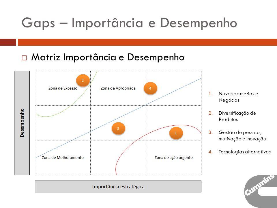 Gaps – Importância e Desempenho Matriz Importância e Desempenho 1.Novas parcerias e Negócios 2.Diversificação de Produtos 3.Gestão de pessoas, motivação e inovação 4.Tecnologias alternativas