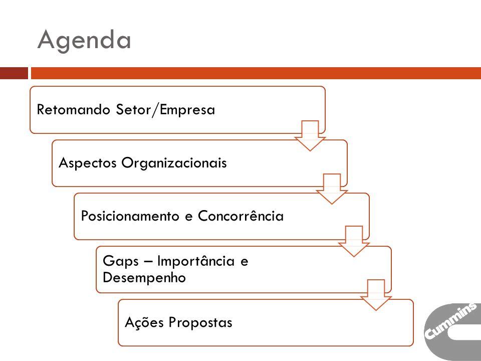 Agenda Retomando Setor/EmpresaAspectos OrganizacionaisPosicionamento e Concorrência Gaps – Importância e Desempenho Ações Propostas
