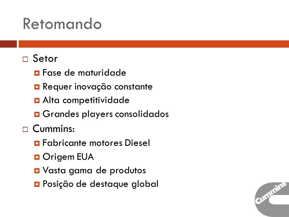 Retomando Setor Fase de maturidade Requer inovação constante Alta competitividade Grandes players consolidados Cummins: Fabricante motores Diesel Origem EUA Vasta gama de produtos Posição de destaque global