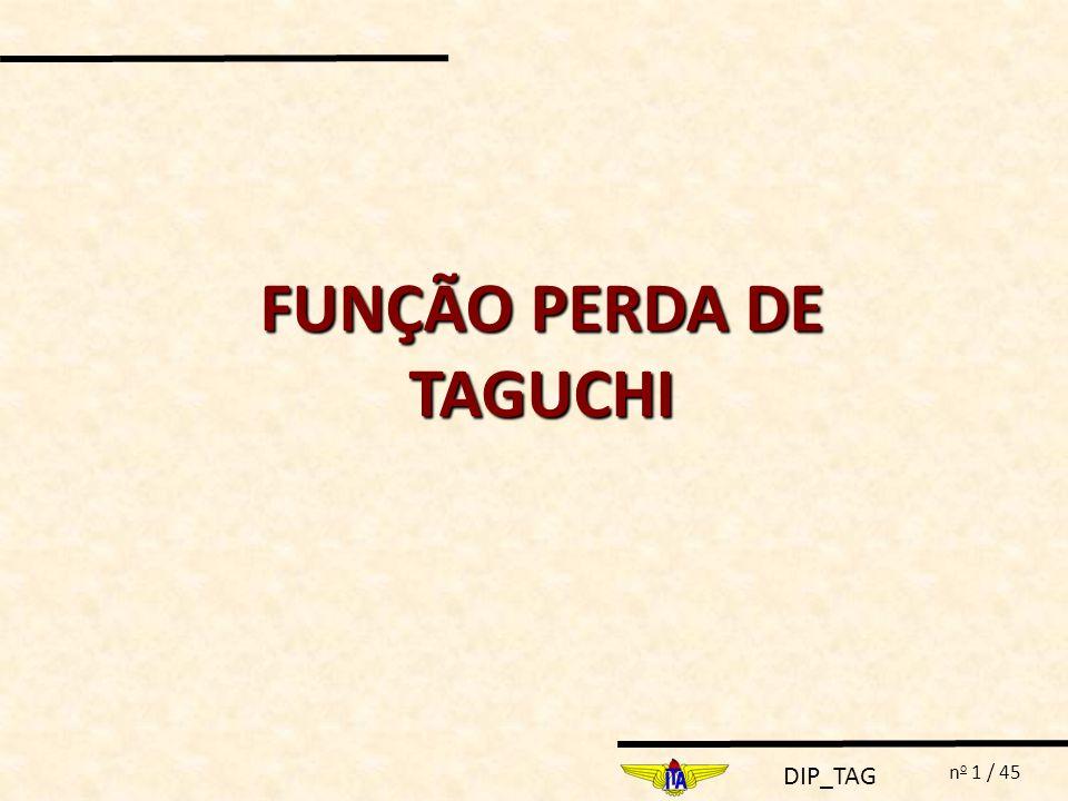 DIP_TAG n o 22 / 45 m 300 Perda para o consumidor 200 100 115 90 140 m- 0 m+ 0 Amplitude permissível no consumidor Amplitude funcional m- m+ Tolerância Ótima L(y) y DETERMINAÇÃO DE TOLERÂNCIAS Função Perda de Taguchi: L(Y)