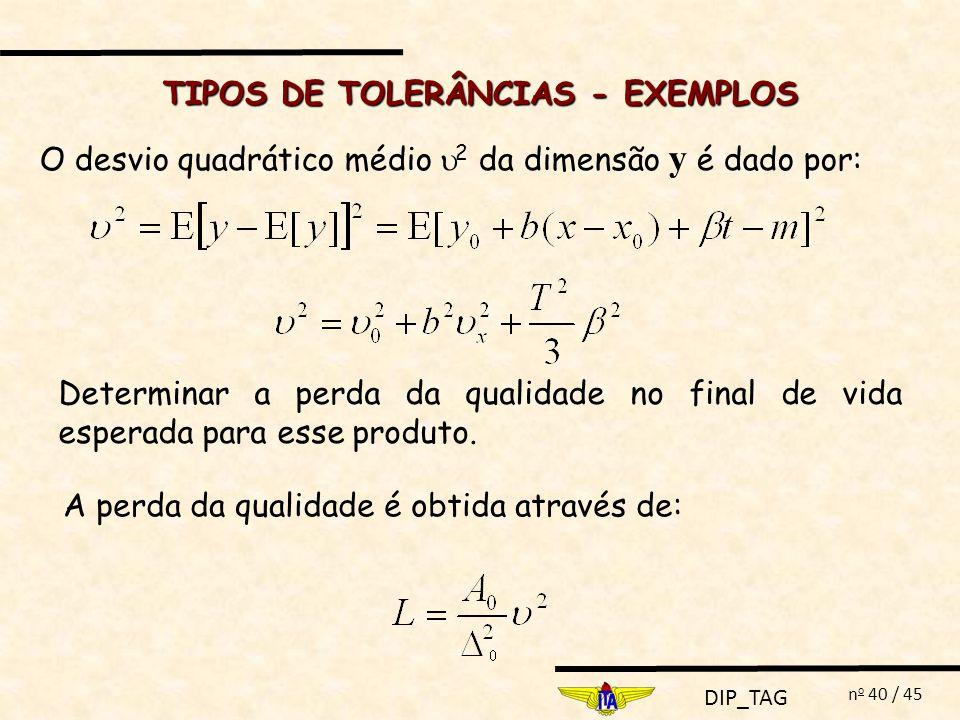 DIP_TAG n o 40 / 45 O desvio quadrático médio 2 da dimensão y é dado por: TIPOS DE TOLERÂNCIAS - EXEMPLOS Determinar a perda da qualidade no final de