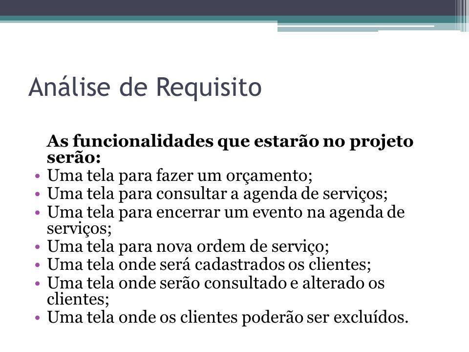 Análise de Requisito As funcionalidades que estarão no projeto serão: Uma tela para fazer um orçamento; Uma tela para consultar a agenda de serviços;