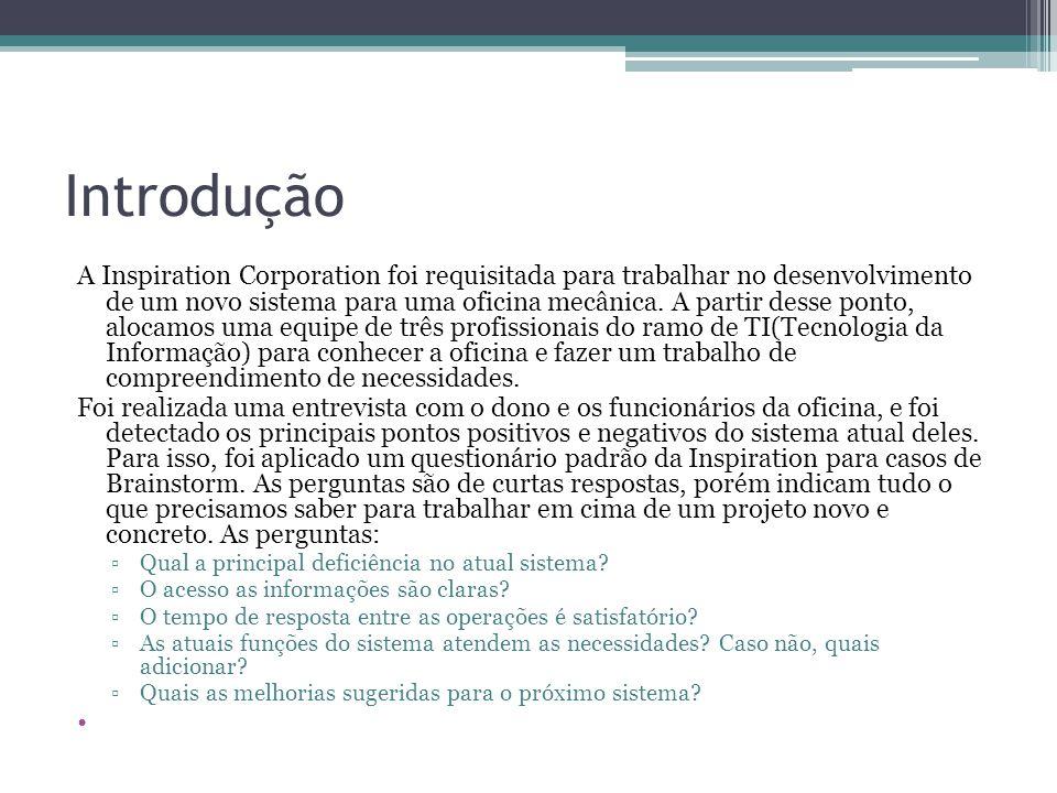 Introdução A Inspiration Corporation foi requisitada para trabalhar no desenvolvimento de um novo sistema para uma oficina mecânica. A partir desse po