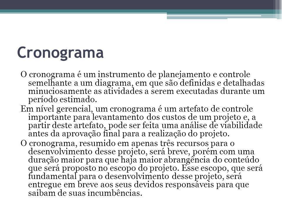 Cronograma O cronograma é um instrumento de planejamento e controle semelhante a um diagrama, em que são definidas e detalhadas minuciosamente as ativ