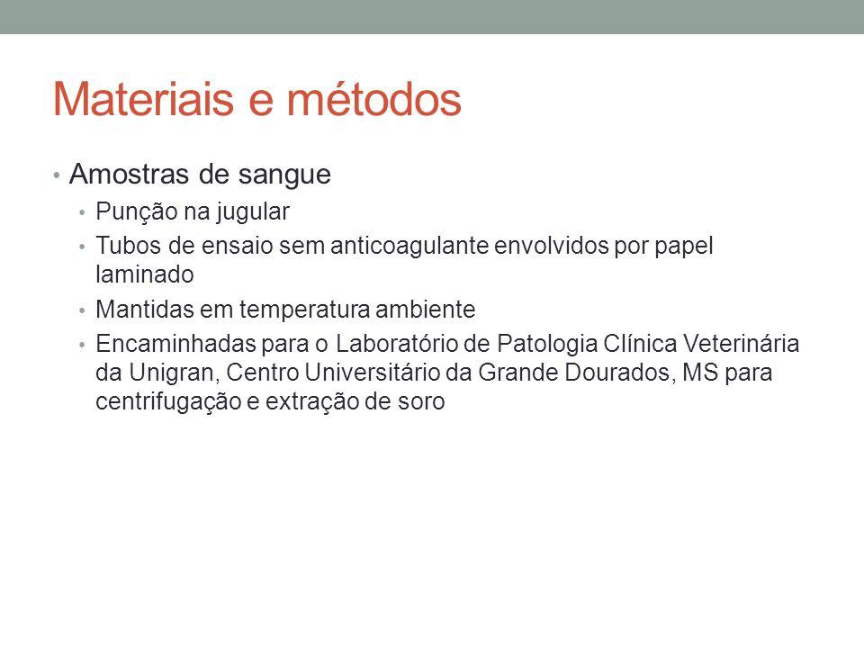 Materiais e métodos Amostras de sangue Punção na jugular Tubos de ensaio sem anticoagulante envolvidos por papel laminado Mantidas em temperatura ambi