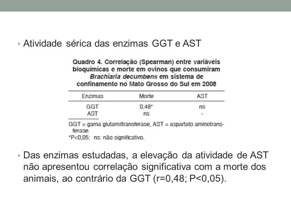 Atividade sérica das enzimas GGT e AST Das enzimas estudadas, a elevação da atividade de AST não apresentou correlação significativa com a morte dos a