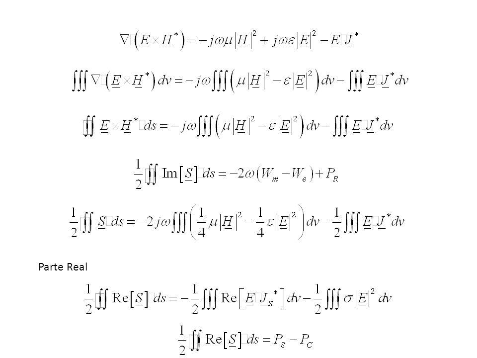 Parte Imaginária Exemplo: Considere uma onda plana se propagando na direção +z com os campos Demonstre o teorema de Poynting num volume retangular com tamanho x=a, y=b e z=c.