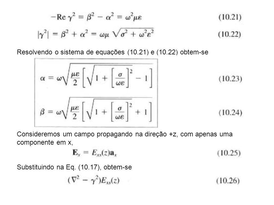 Colocando em evidencia o operador laplaciano, lembrando que não existe variação na direção x e y Obtem-se a equação diferencial, Cuja solução tem a forma, Como o campo deve ser finito em z=infinito, considera-se apenas a exponencial negativa, o campo E(r,t) pode ser então escrito como,