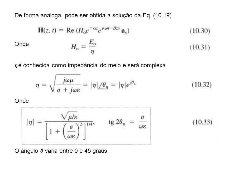 Substituindo (10.31) e (10.32) em (10.30) Observe a defasagem entre os campos, As propriedades de propagação são calculadas usando Podemos também re-escrever a Eq (10.14) onde
