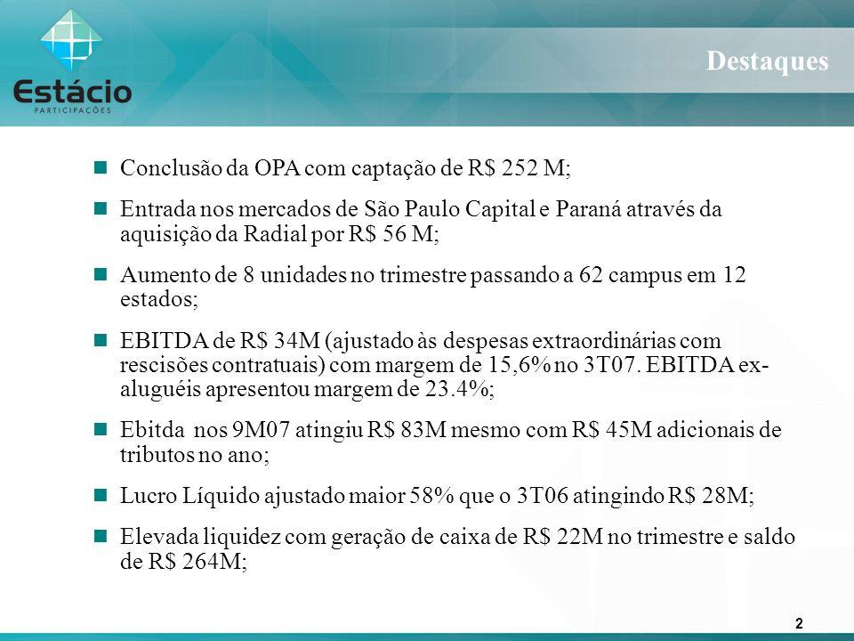 2 Destaques Conclusão da OPA com captação de R$ 252 M; Entrada nos mercados de São Paulo Capital e Paraná através da aquisição da Radial por R$ 56 M; Aumento de 8 unidades no trimestre passando a 62 campus em 12 estados; EBITDA de R$ 34M (ajustado às despesas extraordinárias com rescisões contratuais) com margem de 15,6% no 3T07.