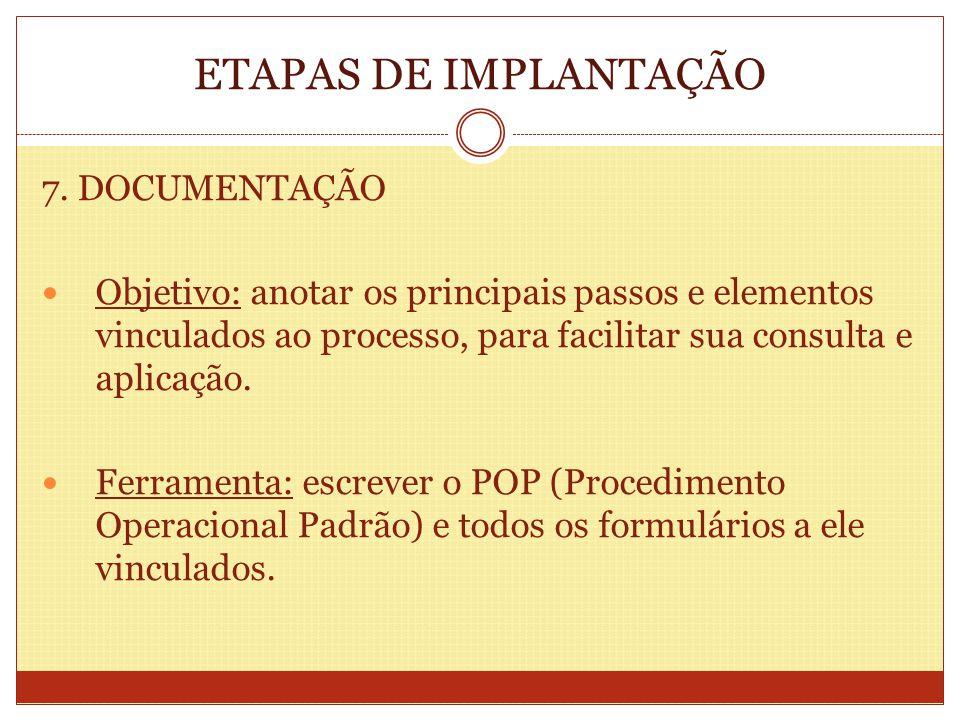 ETAPAS DE IMPLANTAÇÃO 7. DOCUMENTAÇÃO Objetivo: anotar os principais passos e elementos vinculados ao processo, para facilitar sua consulta e aplicaçã