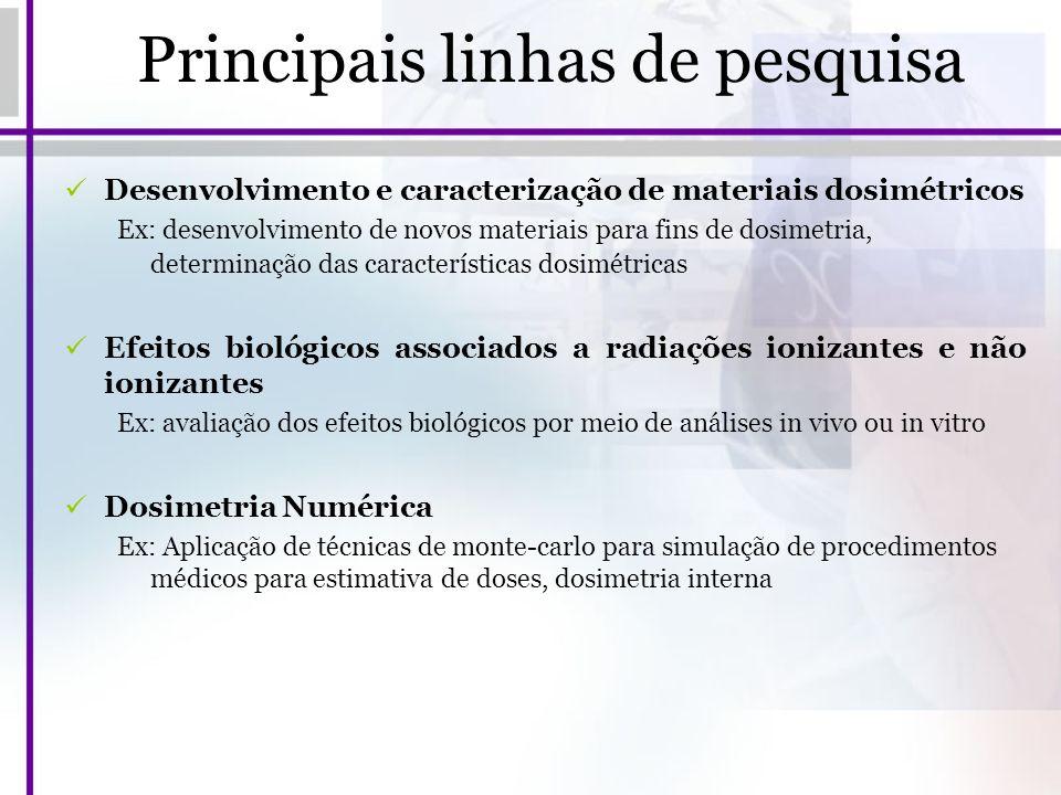 Principais linhas de pesquisa Desenvolvimento e caracterização de materiais dosimétricos Ex: desenvolvimento de novos materiais para fins de dosimetri
