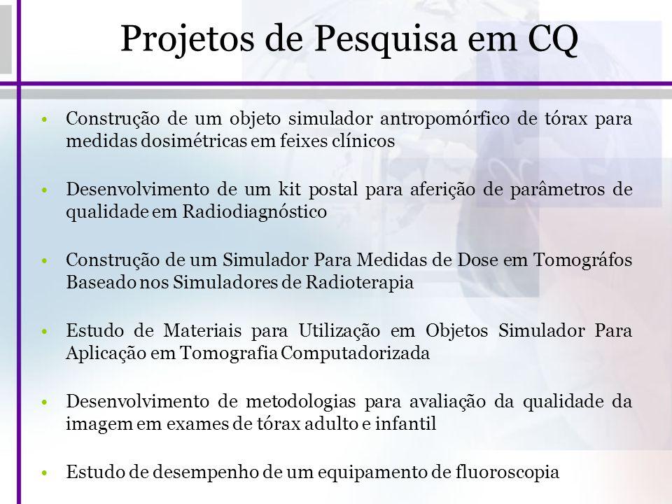 Projetos de Pesquisa em CQ Construção de um objeto simulador antropomórfico de tórax para medidas dosimétricas em feixes clínicos Desenvolvimento de u