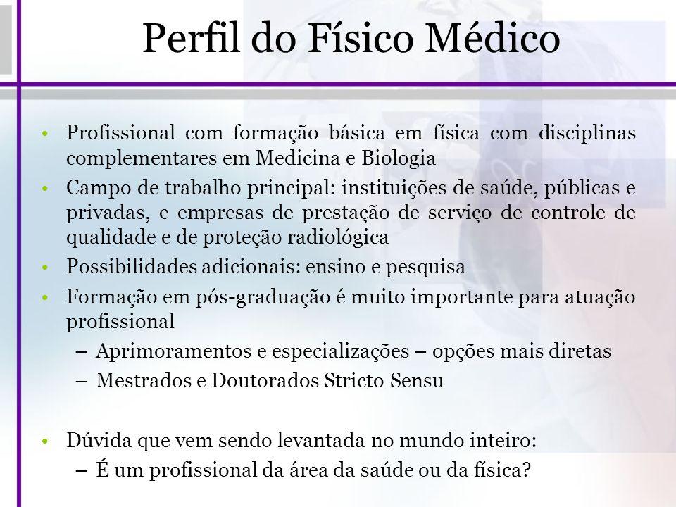 Perfil do Físico Médico Profissional com formação básica em física com disciplinas complementares em Medicina e Biologia Campo de trabalho principal: