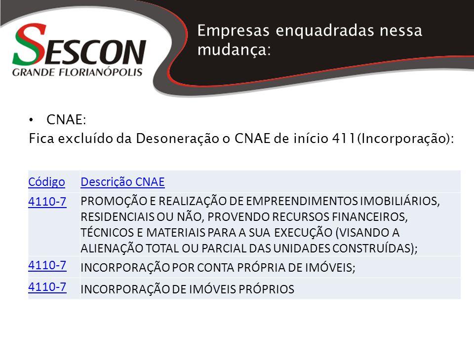 Empresas enquadradas nessa mudança: CNAE: Fica excluído da Desoneração o CNAE de início 411(Incorporação): CódigoDescrição CNAE 4110-7 PROMOÇÃO E REAL