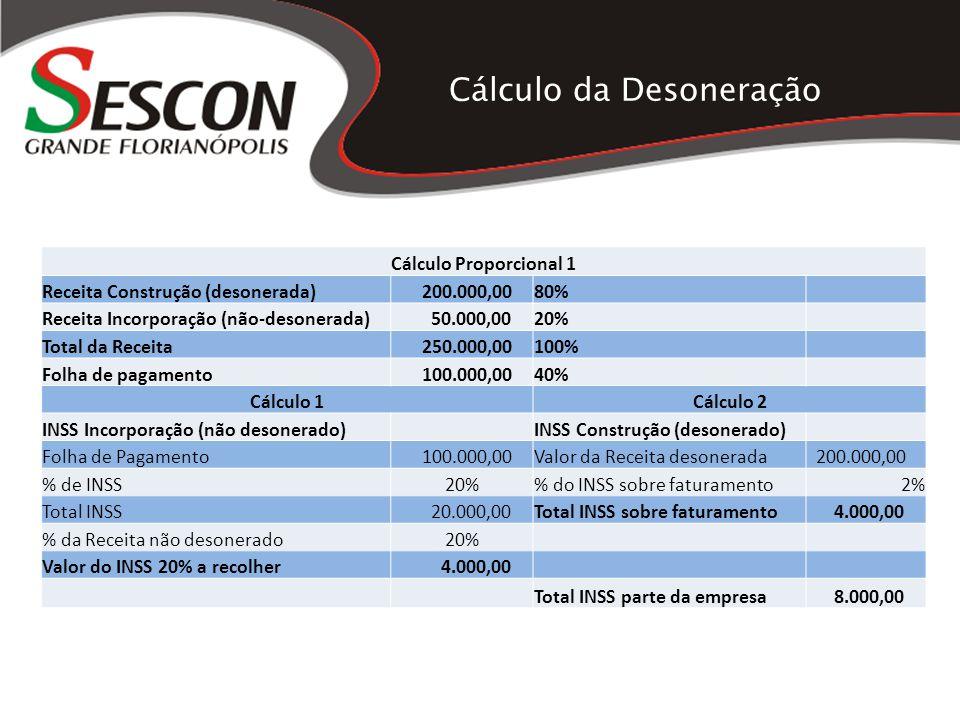 Cálculo da Desoneração Cálculo Proporcional 1 Receita Construção (desonerada) 200.000,0080% Receita Incorporação (não-desonerada) 50.000,0020% Total d