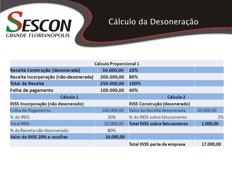 Cálculo da Desoneração Cálculo Proporcional 1 Receita Construção (desonerada) 50.000,0020% Receita Incorporação (não-desonerada) 200.000,0080% Total d