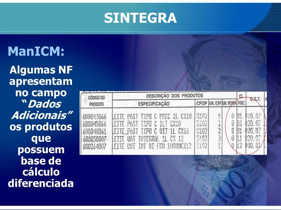 SINTEGRA ManICM: Algumas NF apresentam no campoDados Adicionais os produtos que possuem base de cálculo diferenciada