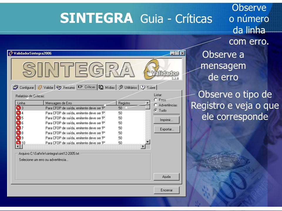SINTEGRA Guia - Críticas Observe o número da linha com erro. Observe a mensagem de erro Observe o tipo de Registro e veja o que ele corresponde