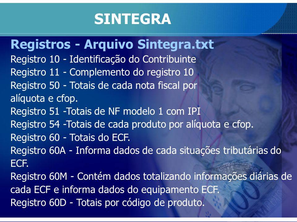 Registros - Arquivo Sintegra.txt Registro 10 - Identificação do Contribuinte Registro 11 - Complemento do registro 10 Registro 50 - Totais de cada not