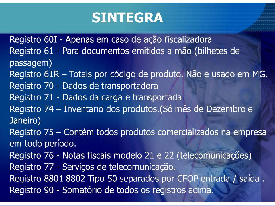 Registro 60I - Apenas em caso de ação fiscalizadora Registro 61 - Para documentos emitidos a mão (bilhetes de passagem) Registro 61R – Totais por códi