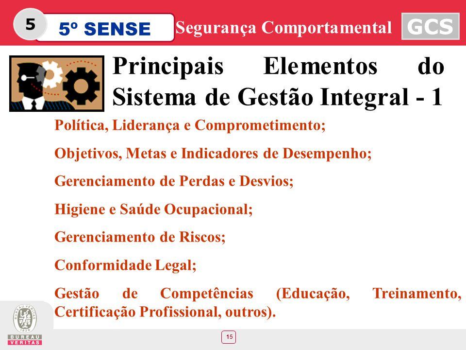 15 5º SENSE GCS Segurança Comportamental 5 Principais Elementos do Sistema de Gestão Integral - 1 Política, Liderança e Comprometimento; Objetivos, Me