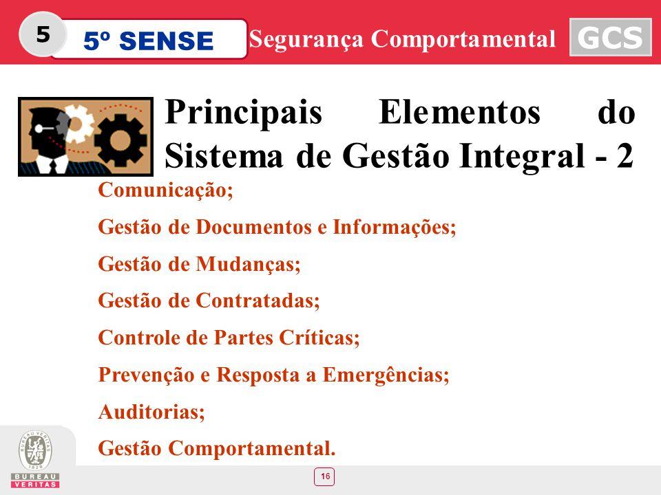 16 5º SENSE GCS Segurança Comportamental 5 Principais Elementos do Sistema de Gestão Integral - 2 Comunicação; Gestão de Documentos e Informações; Ges