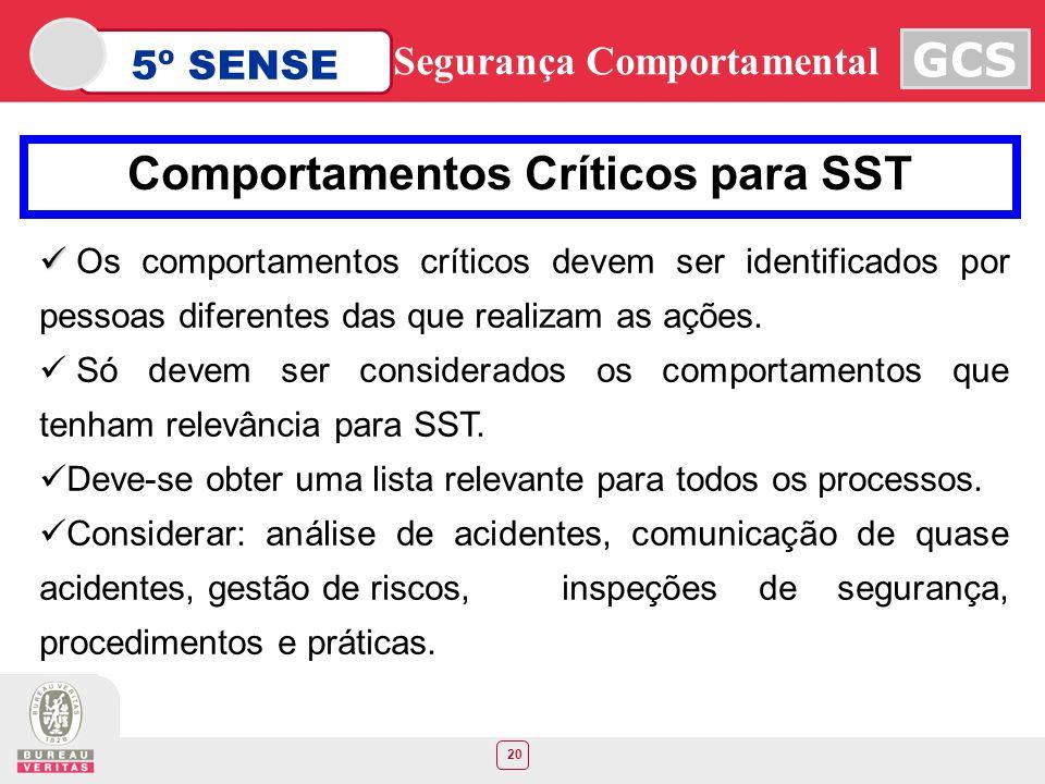 20 5º SENSE GCS Segurança Comportamental Comportamentos Críticos para SST Os comportamentos críticos devem ser identificados por pessoas diferentes da