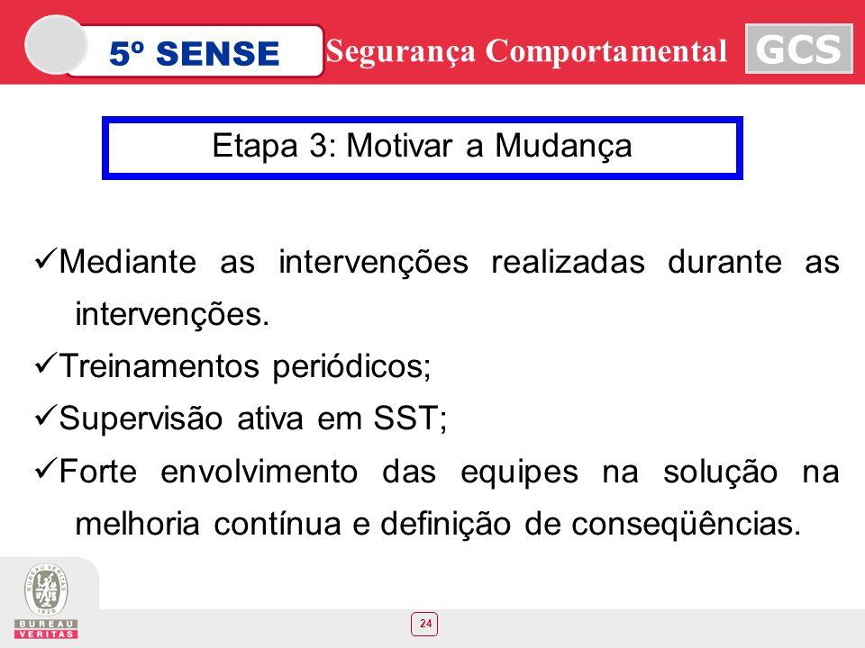 24 5º SENSE GCS Segurança Comportamental Etapa 3: Motivar a Mudança Mediante as intervenções realizadas durante as intervenções. Treinamentos periódic