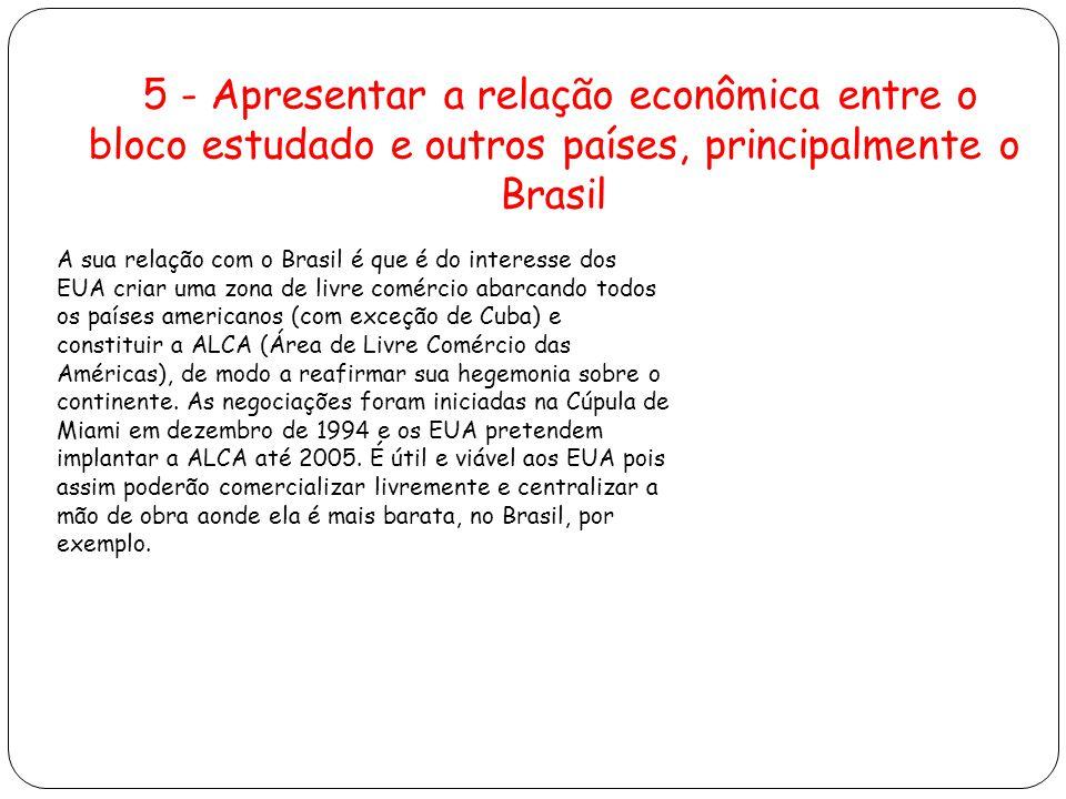 A sua relação com o Brasil é que é do interesse dos EUA criar uma zona de livre comércio abarcando todos os países americanos (com exceção de Cuba) e constituir a ALCA (Área de Livre Comércio das Américas), de modo a reafirmar sua hegemonia sobre o continente.