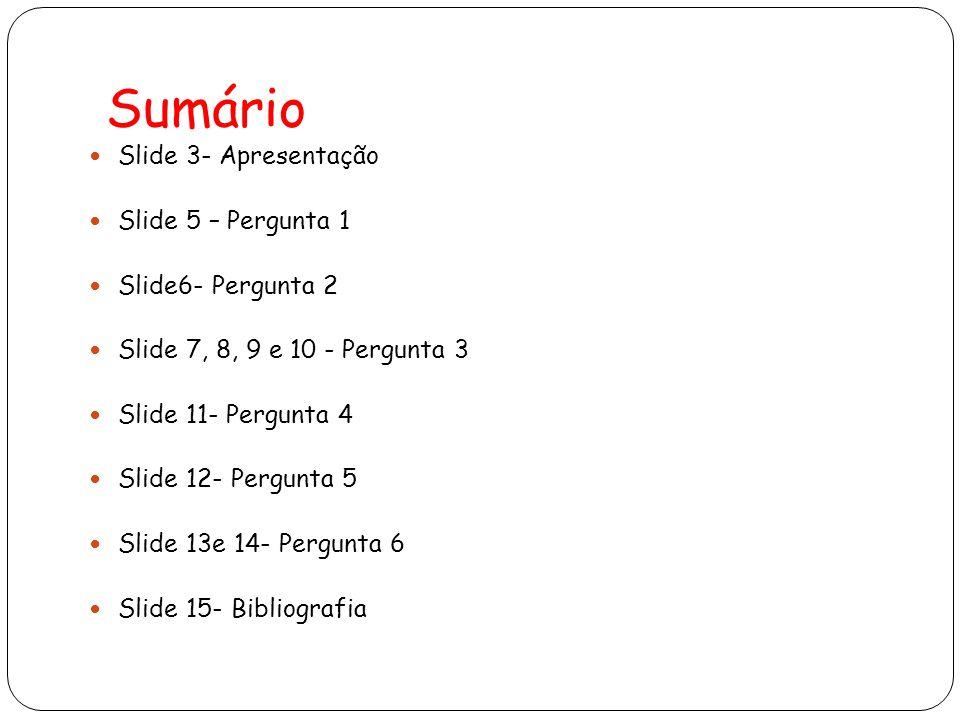 Sumário Slide 3- Apresentação Slide 5 – Pergunta 1 Slide6- Pergunta 2 Slide 7, 8, 9 e 10 - Pergunta 3 Slide 11- Pergunta 4 Slide 12- Pergunta 5 Slide 13e 14- Pergunta 6 Slide 15- Bibliografia