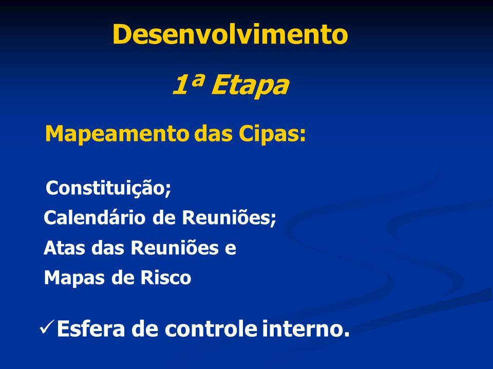 Desenvolvimento 1ª Etapa Mapeamento das Cipas: Constituição; Calendário de Reuniões; Atas das Reuniões e Mapas de Risco Esfera de controle interno.